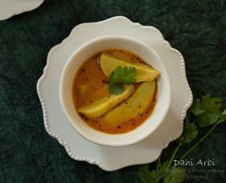 Dahi Arbi (Tangy yogurt based Taro Root Curry)