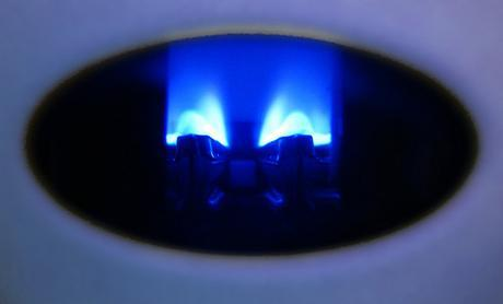 A gas flame in a boiler