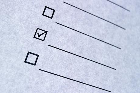 A checklist with a tick in a box