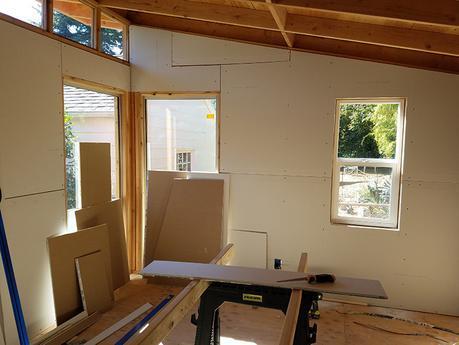 Portland art studio of Cedar Lee, under construction
