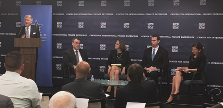 From Left: CIPE Chair Greg Lebedev, with discussion moderator Andrew Wilson, and speakers Alicia Phillips Mandaville, Chris Maloney, and Beth Tritter at the Democracy and Governance event on September 15, 2016.