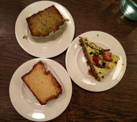 Lemon drizzle; mint, lime & courgette; pistachio cake