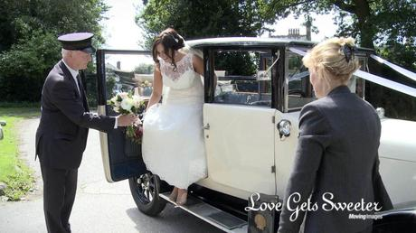 bride getting out of vintage wedding car on video s marys church west derby