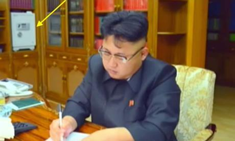A safe (tagged) in one of Kim Jong Un's workspaces (Photo: KCTV/NK Leadership Watch).