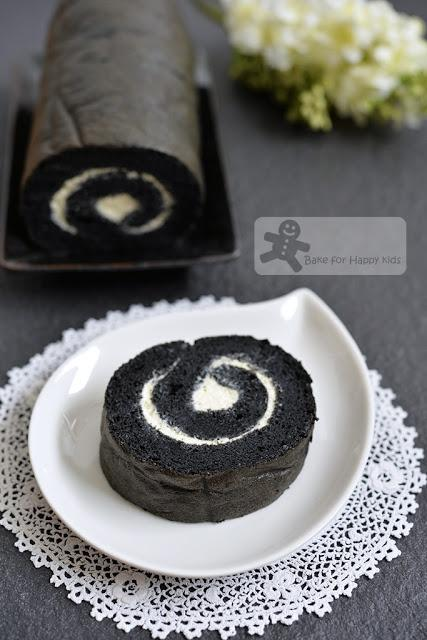 soft charcoal Swiss roll