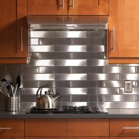 Kitchen Splash Back Made From Stainless Steel Sheet