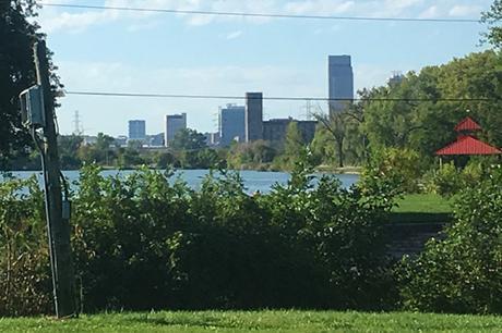 Iowa across Carter Lake - Omaha Marathon