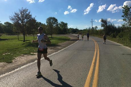 Dan Solera at mile 14 of Omaha Marathon