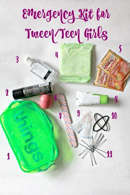 Emergency Kit for Tween/Teen Girls. Perfect kit for girls to carry in their backpacks daily. Prepared girls are confident girls! #40Pounds #ad