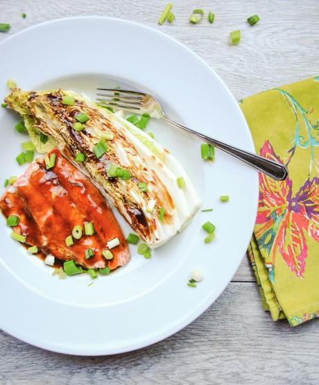 Asian Salmon Sheet Pan Meal with Napa Cabbage