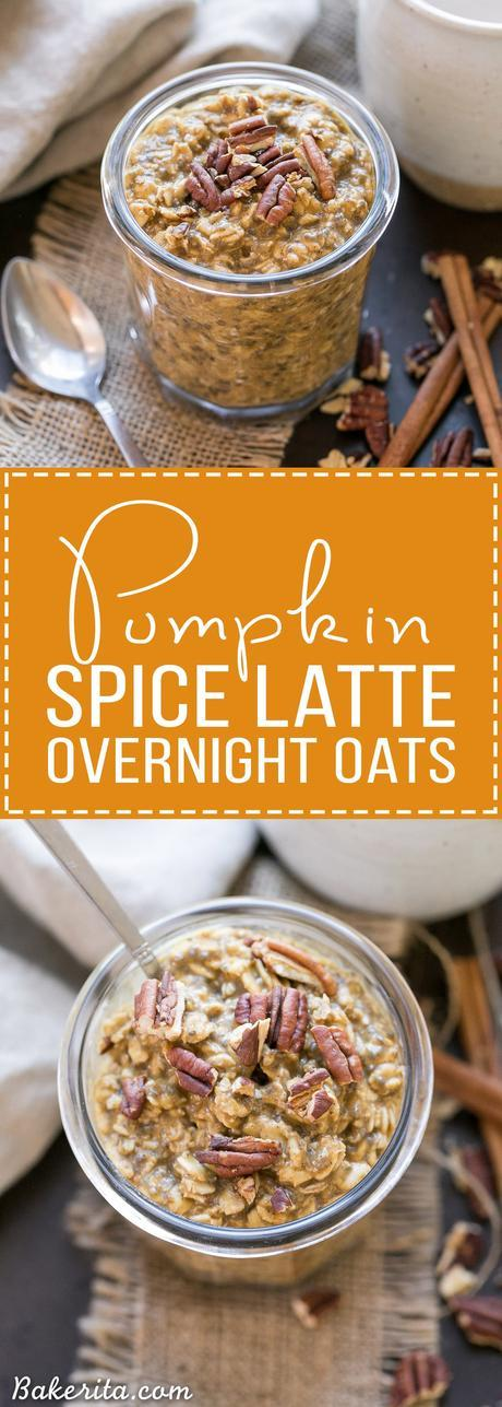 These Pumpkin Spice Latte Overnight Oats, with pumpkin puree and cinnamon, will help you start your morning deliciously! Prep only takes a few minutes and they can be enjoyed straight from the fridge or warmed up.