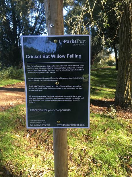 Sign put up by parks trust about willow cutting
