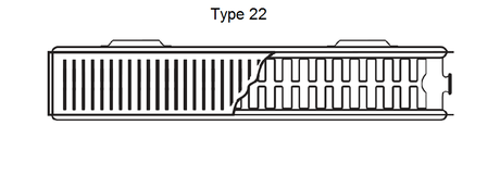 Cross section diagram of a type 22 convector radiator