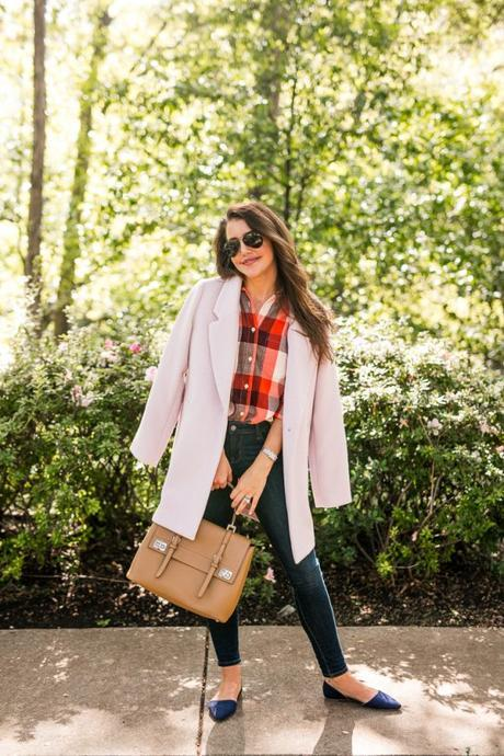 Amy Havins wears fall plaid from Old Navy.