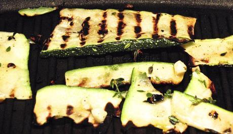 Vegetarian grilled marinated courgettes & aubergine dinner!