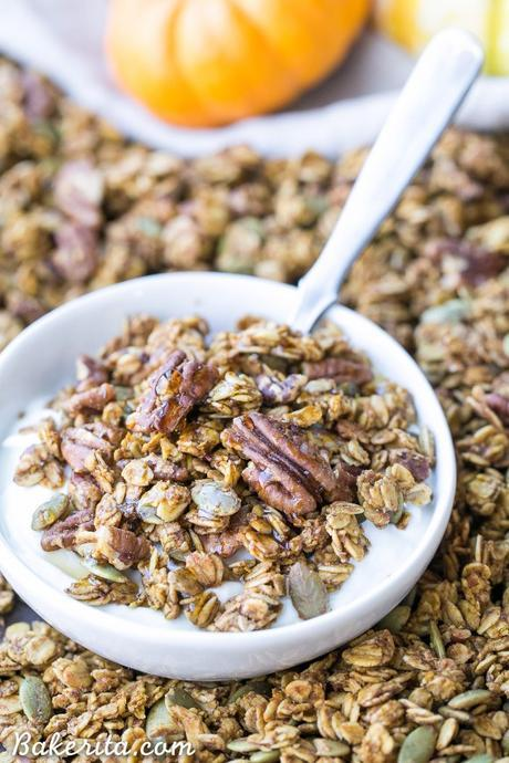 This Pumpkin Granola is a simple, crunchy granola that makes the perfect Fall breakfast! Made with pecans, pepitas, and maple syrup, you won't be able to stop snacking on this gluten free and vegan granola.