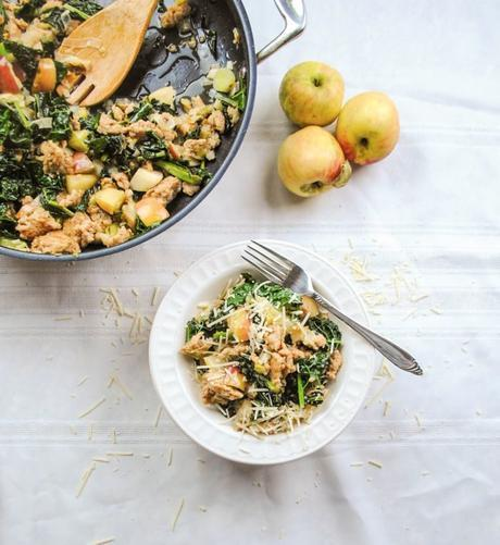 Italian Chicken One Pan Meal with Leeks, Apples, Kale, and Parmesan Cheese