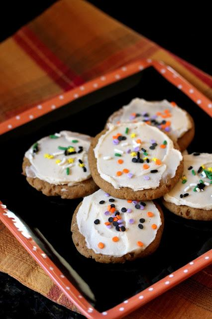 Vegan Frosted Pumpkin Sugar Cookies