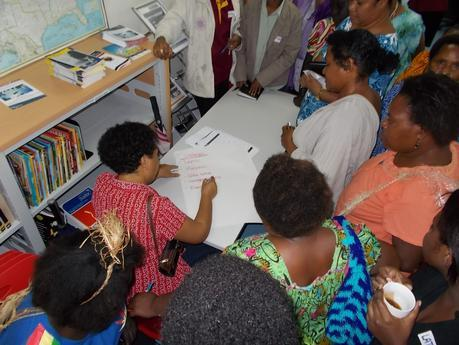 Women from the Papua New Guinea Women's Chamber of Commerce and Industry participating in a capacity building workshop