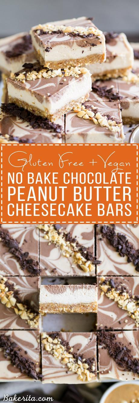 These No-Bake Chocolate Peanut Butter Cheesecake Bars have a peanut date crust and a super creamy cashew-based peanut butter filling - you'd never guess that they're vegan, gluten free, and refined sugar free!