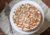 No-Bake Peanut Butter Dulce de Leche Cheesecake with Popcorn Crust