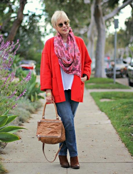 red jacket with jeans, pink scarf