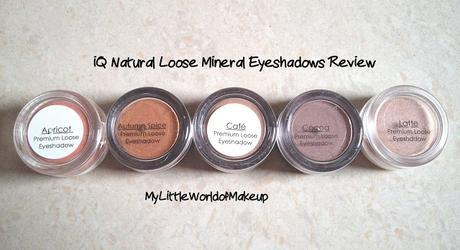iQ Natural Premium Loose  Mineral  Eye shadows Review, Price & Swatches