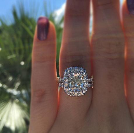 Soft Square Halo Engagement Ring