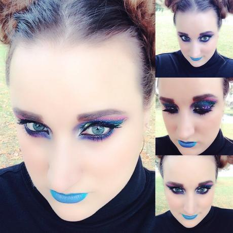 Bright Blue lips and Galaxy Makeup Look