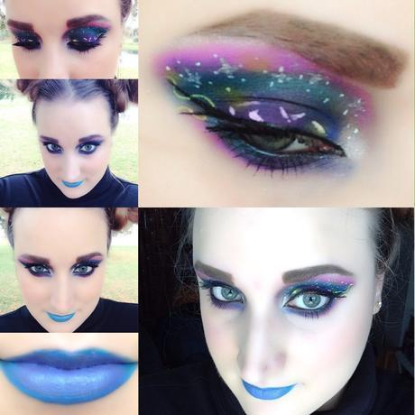 Galaxy Makeup Look. Fun Futuristic Makeup