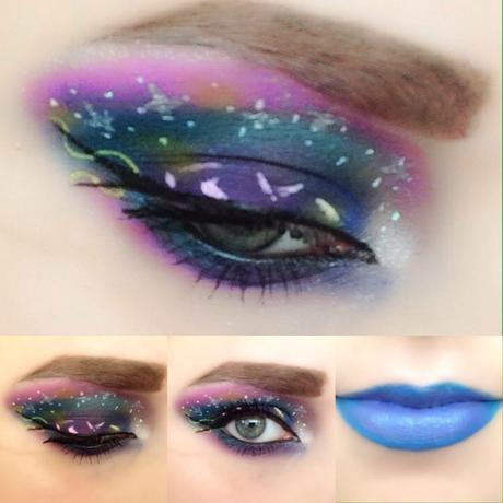 Collage of Galaxy and Futuristic Makeup