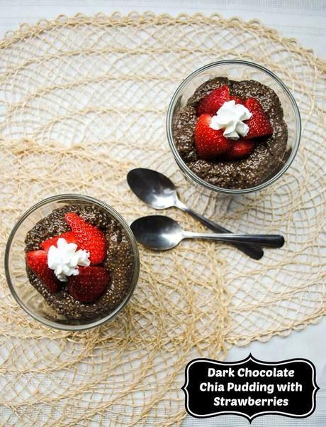 Healthy Dark Chocolate Chia Pudding with Strawberries