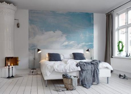 Rebel Walls 'cloud puff' mural is the perfect backdrop for a restful night's sleep, or for a calming, zen like space anywhere in the home.