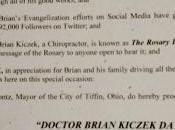 Catholic Author Brian Kiczek Honored Mayor Tiffin, Ohio