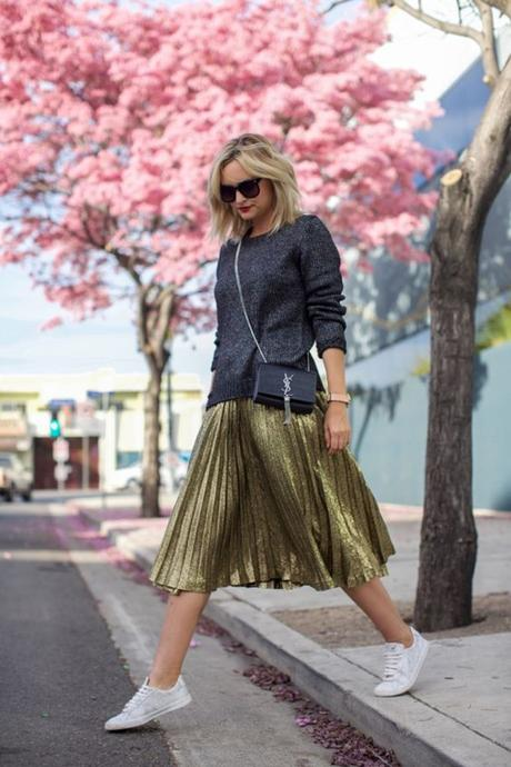 Pleated Metallic Gold Midi Skirt With White Sneakers & YSL Crossbody Bag
