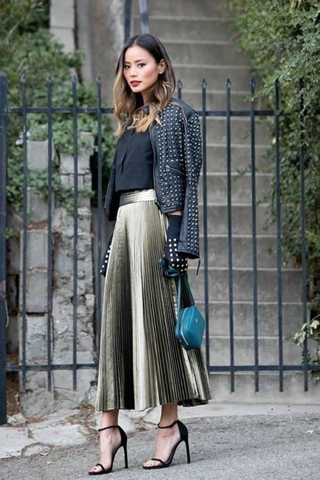 Pleated Skirt And Studded Moto Jacket