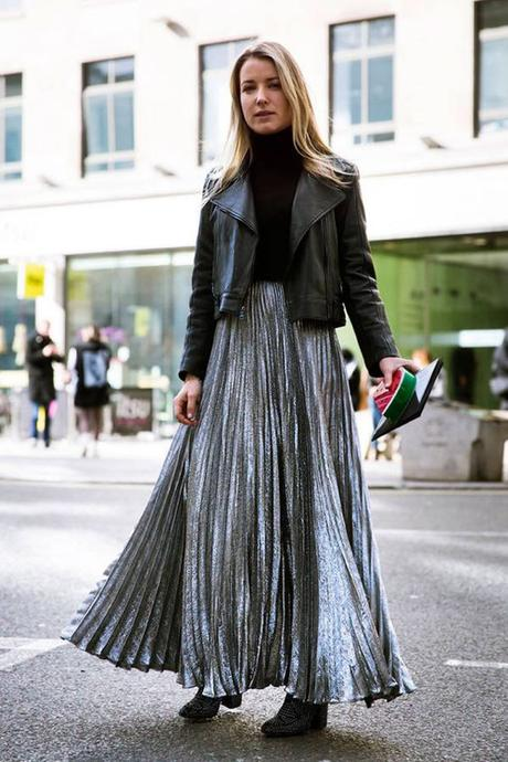 Silver Pleated Maxi And Cropped Leather Jacket