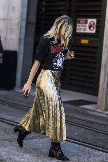 Pair A Graphic Black Tee With A Gold Pleated Maxi Skirt