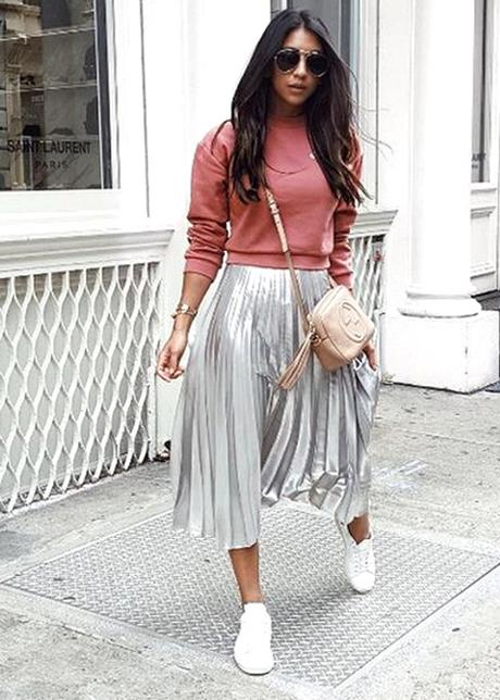 Metallic Silver Maxi Paired With Pink Sweater And White Sneakers