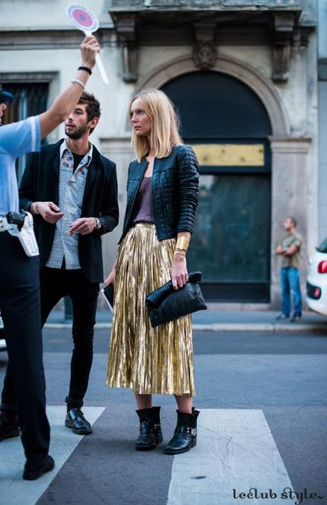 Gold Metallic Accordion Pleat Skirt Street Style