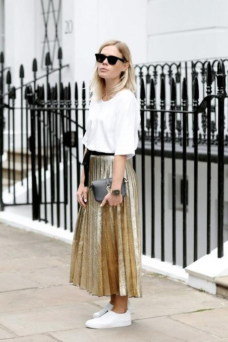 Jessie Bush Wears Pleated Gold Metallic Maxi Skirt With White Sneakers