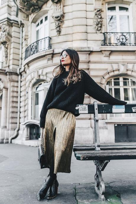 Gold Metallic Pleated Maxi Skirt And A Baggy Black Sweater