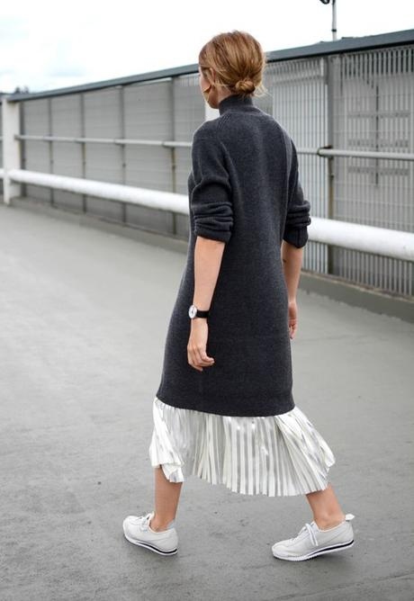 Sweater Dress Over Metallic Maxi Skirt Plus White Sneakers
