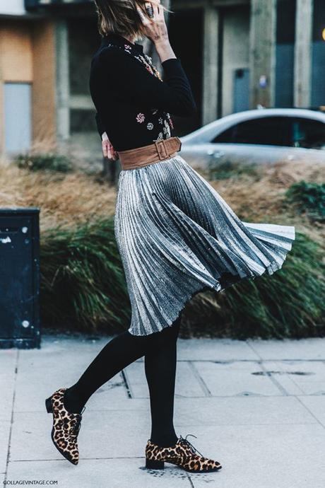 Pleated Skirt In Silver Metallic With a Wide Belt and Black Tights