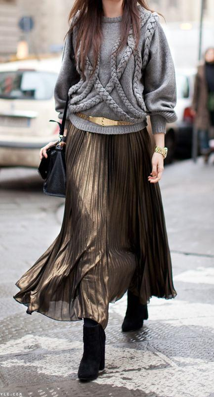 Bronze Metallic Maxi And Belted Textural Sweater