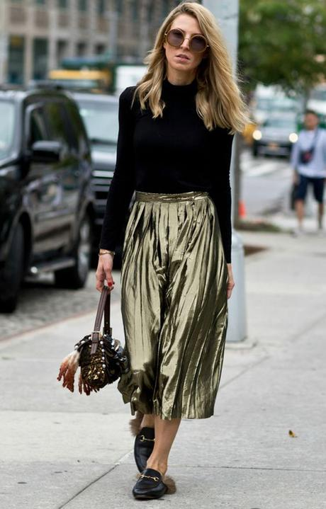 Gold Skirt And Fur-Lined Gucci Loafers