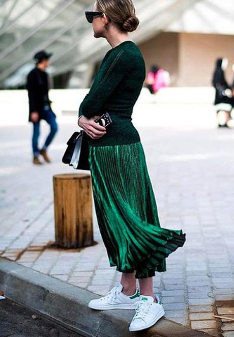 Green Metallic Maxi Skirt WIth Adidas Sneakers