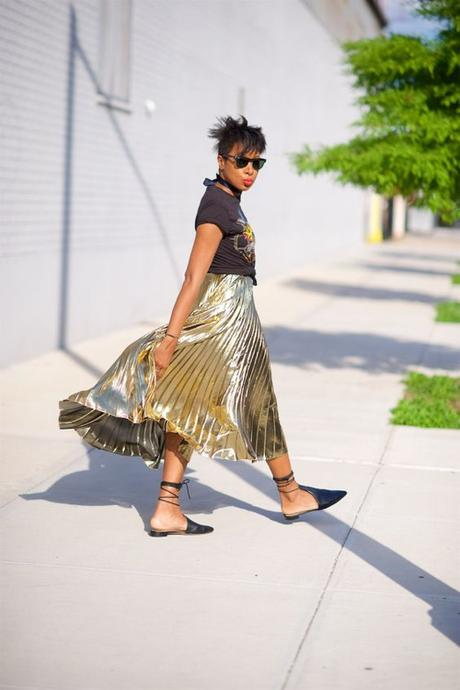 Gold Metallic Skirt Paired With Graphic T-Shirt
