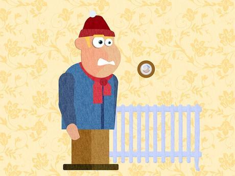 cartoon man standing next to a radiator looking cold