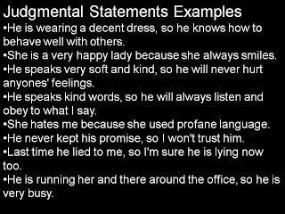List of Judgemental Statements with Examples